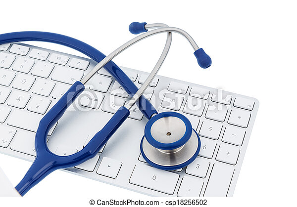 stethoscope and keyboard of a computer - csp18256502