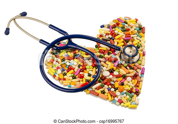 stethoscope and pills in heart shape - csp16995767