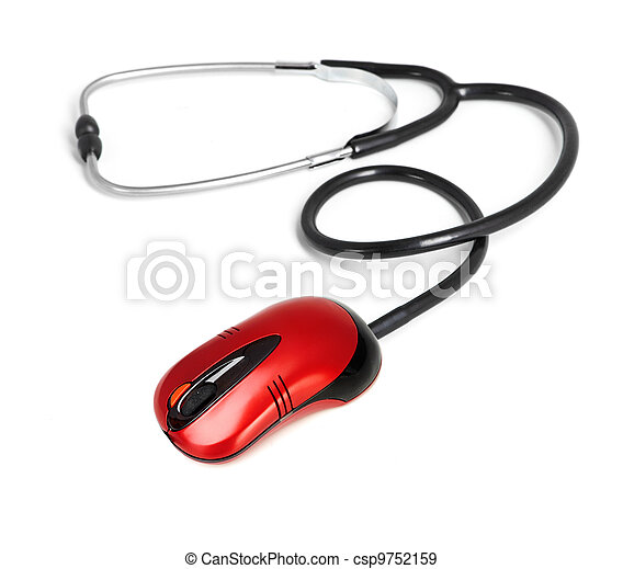 stethoscope computer mouse medical online concept - csp9752159