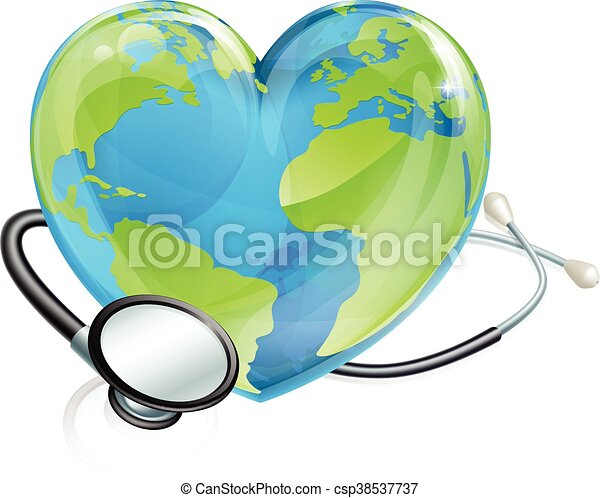 Stethoscope Earth Heart World Globe Health Concept - csp38537737