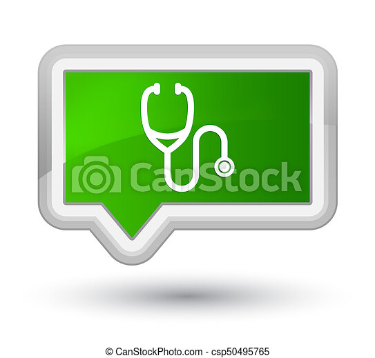 Stethoscope icon prime green banner button - csp50495765