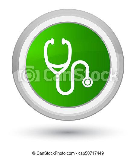 Stethoscope icon prime green round button - csp50717449