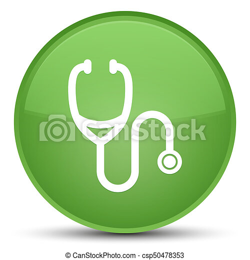 Stethoscope icon special soft green round button - csp50478353