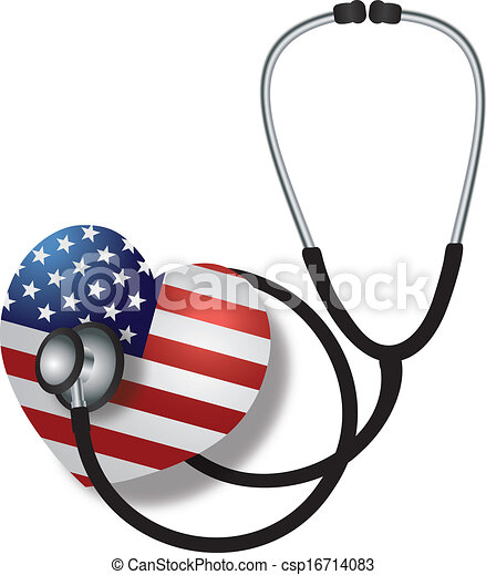 Stethoscope Listening to Heartbeat with USA Flag - csp16714083