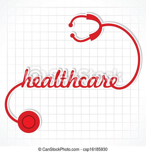 Stethoscope make healthcare word - csp16185930