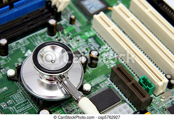 Stethoscope on a computer motherboard - csp5762927