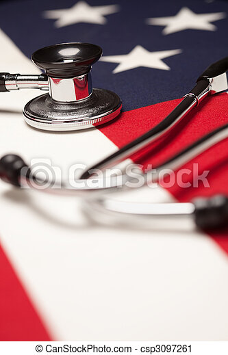 Stethoscope on American Flag - csp3097261