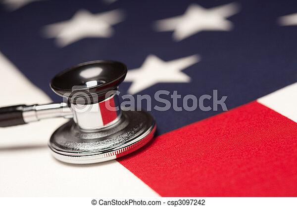 Stethoscope on American Flag - csp3097242