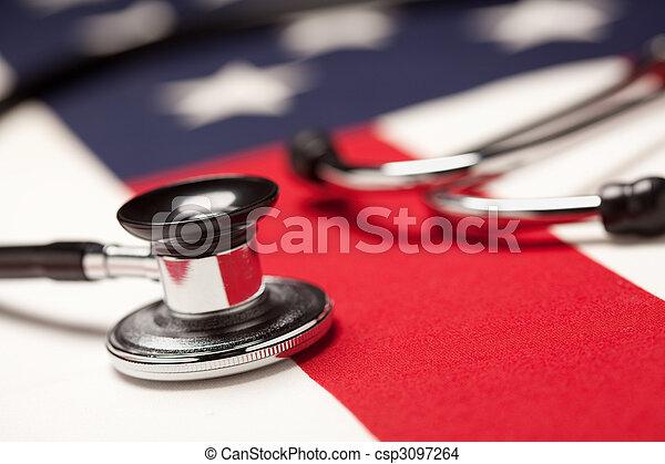 Stethoscope on American Flag - csp3097264
