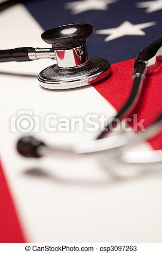 Stethoscope on American Flag - csp3097263