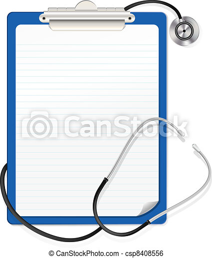 stethoscope on clipboard  - csp8408556