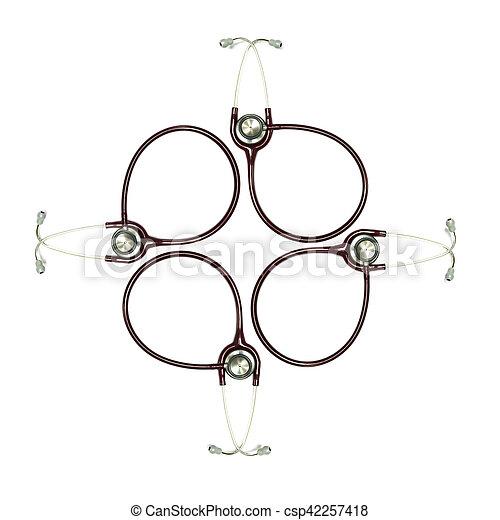 Stethoscopes on the white background. - csp42257418
