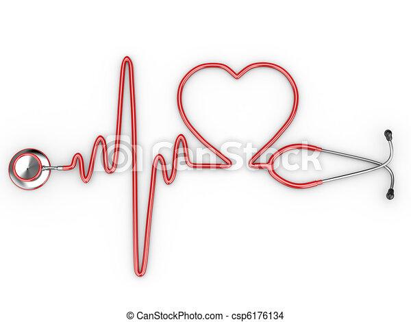stetoscopio, cuore, ecg, silhouette - csp6176134