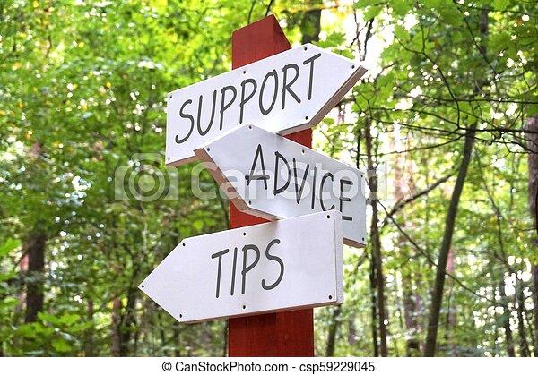 steun, wegwijzer, -, pijl, drie, raad, concept, tips - csp59229045