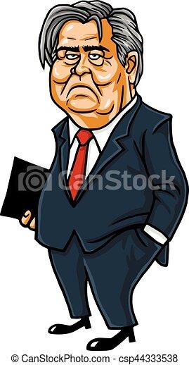 Steve Bannon Cartoon Caricature Portrait Vector - csp44333538