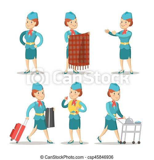 6977d9363a5c3 Stewardess Cartoon in Uniform. Air Hostess. Vector illustration -  csp45846936