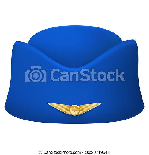 Stewardess Hat Of Air Hostess Uniform Isolated On White Background