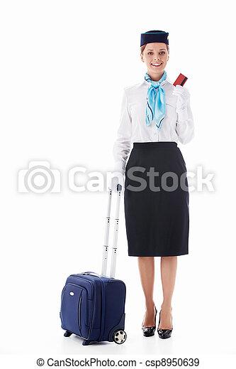 Stewardess isolated - csp8950639