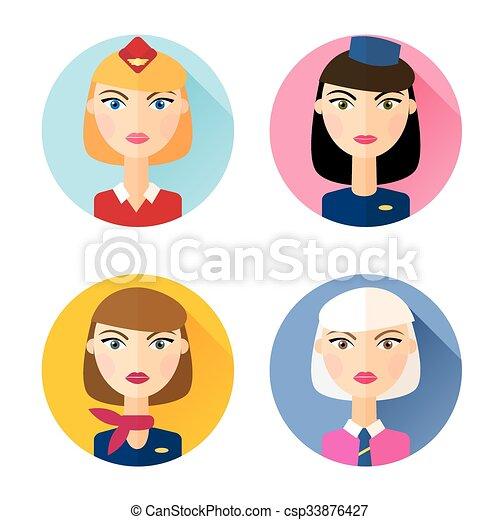 Stewardess. Set of flat style icons. - csp33876427