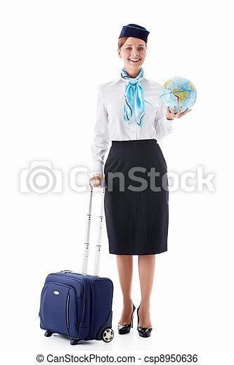 Stewardess with a globe - csp8950636