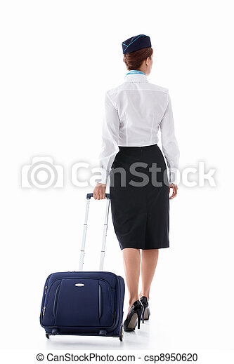 Stewardess with a suitcase - csp8950620