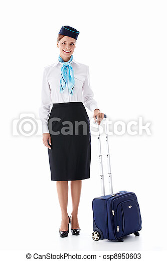 Stewardess with a suitcase - csp8950603