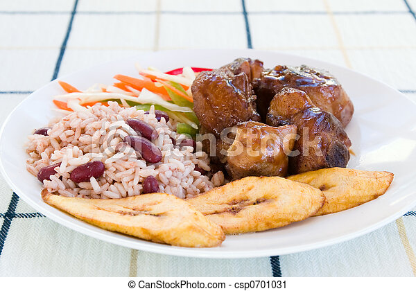 Stewed Chicken with Rice and Vegetables - Jamaican Style - csp0701031