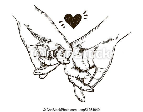 Stich Liebe Paar Vektor Hande Halten Stich Stil Liebe