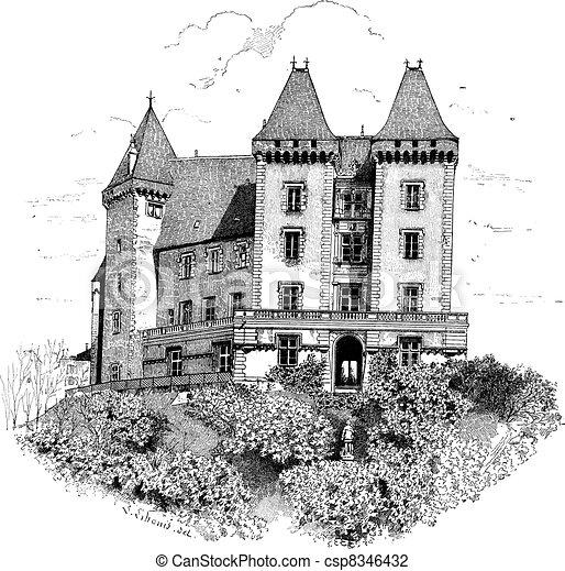 Schloss de pau oder pau Schloss in der rötlichen Gravur - csp8346432