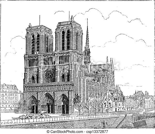 Stich Weinlese De Paris Frankreich Notre Dame 1163 Fleury