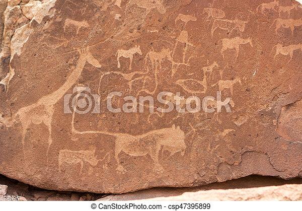 stiche, damaraland, kunene, welt, buschmann, gebiet, gestein, granit, standort, namibia, erbe, unesco, twyfelfontein - csp47395899