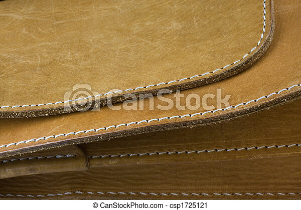 stiches, couro, fundo branco, amarela - csp1725121