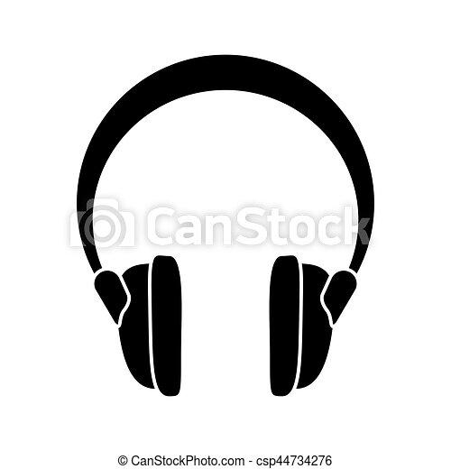 Stichhaltige vorrichtung, kopfhörer, musik, piktogramm.... Vektoren ...