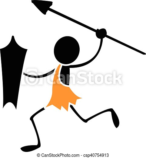 stick caveman with spear and shield vector clip art search rh canstockphoto com caveman clipart free caveman clipart free