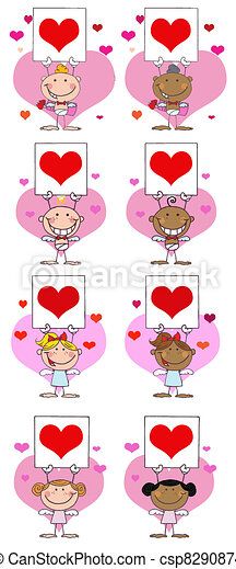 Stick Cupids Holding A Banner  - csp8290874