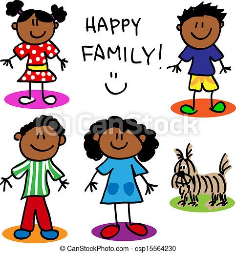 stick figure black family fun stick figure cartoon black family rh canstockphoto com black white family clipart black family reunion clipart