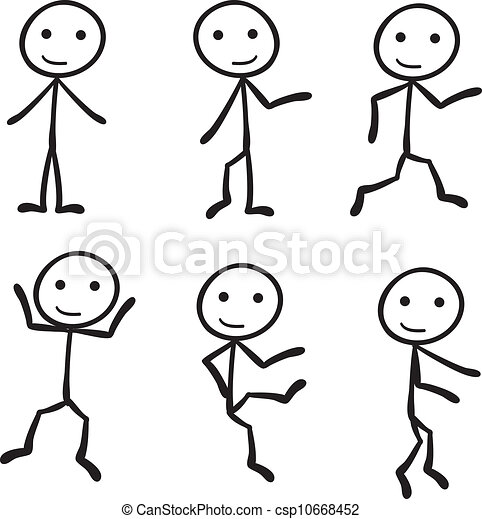 six different stick figure with different pose rh canstockphoto com clip art stick people free clip art stick people free