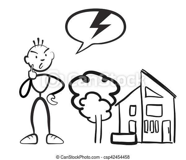 stick figure man reports household damage stickman vector drawing