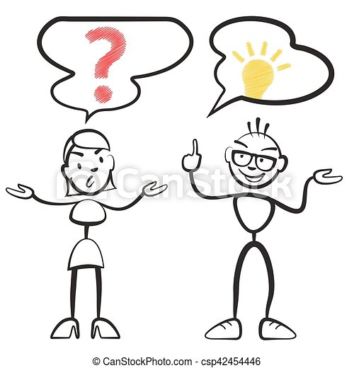 stick figure questionnaire and idea persona stickman vector drawing