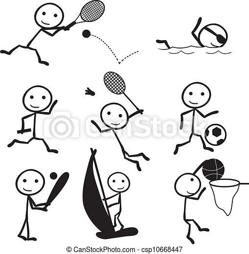 vector stick figure sports