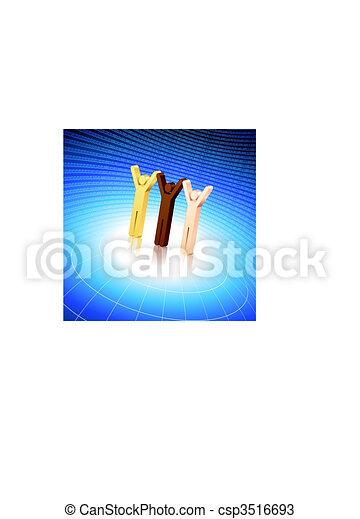 Stick Figures raising hands on blue globe background - csp3516693