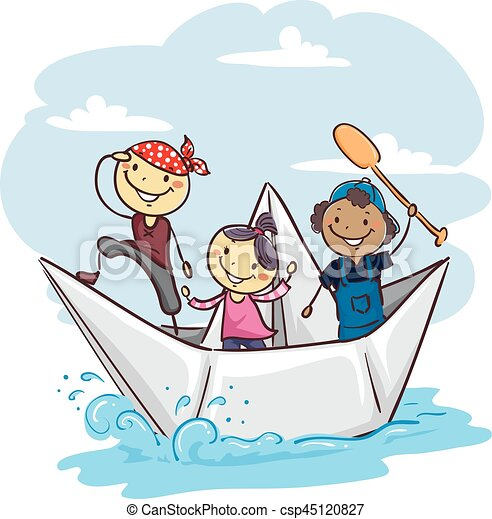 Stick Kids on a Paper Boat - csp45120827