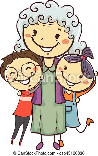 vector illustration of stick kids with grandma vectors search clip rh canstockphoto com grandma clipart face grandma clipart face