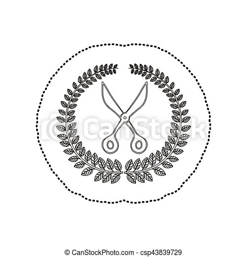 sticker arch of leaves with scissors tool - csp43839729