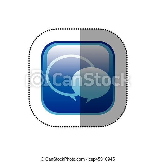 Sticker blue square frame with speech bubbles csp45310945
