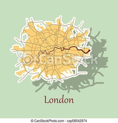 Sticker color map of london, united kingdom. city plan of london ...
