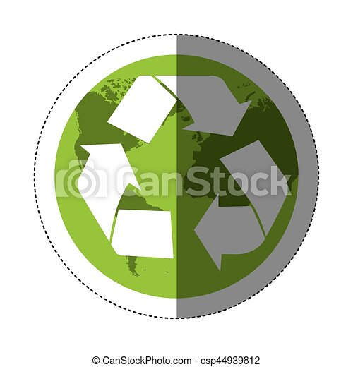 Sticker Color Map World With Recycling Symbol Vector Illustration