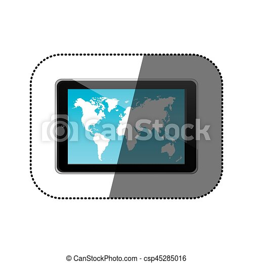 Sticker color silhouette tablet in horizontal position and world map sticker color silhouette tablet in horizontal position and world map wallpaper vector illustration gumiabroncs Images