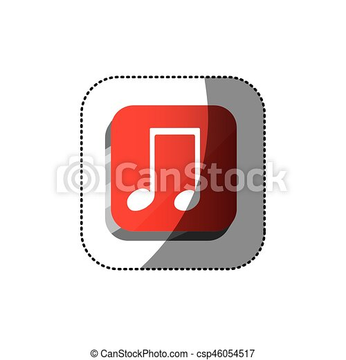 sticker color square 3d button with musical note - csp46054517