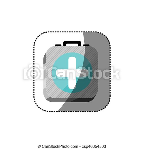 sticker color square 3d button with first aid kit - csp46054503